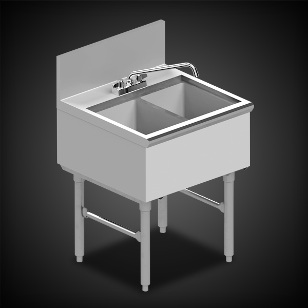 infinity stainless two compartment sink